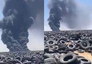Incendiu la cel mai mare depozit de anvelope uzate din lume. Imaginile au fost văzute din satelit
