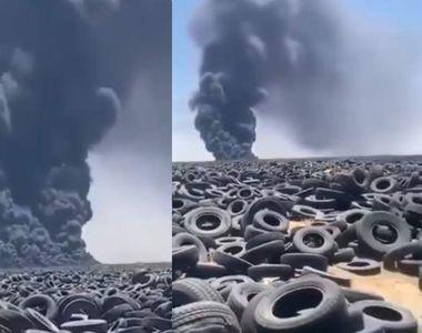 Incendiu la cel mai mare depozit de anvelope uzate din lume. Imaginile au fost văzute...