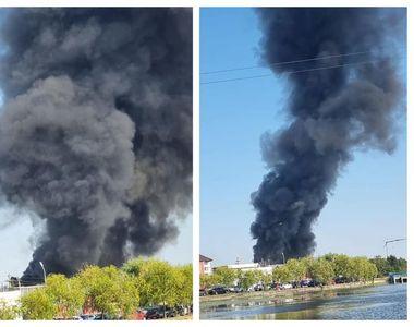 VIDEO  Incendiu de ultim moment. Peste 20 de mașini de pompieri au ajuns la fața locului