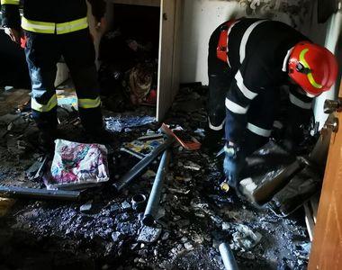 Incendiu de ultim moment într-un bloc de locatari. De unde a pornit focul