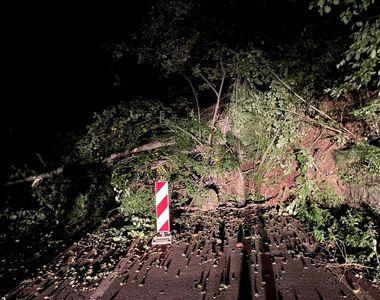 Trafic blocat pe DN 17B. Mai mulți bolovani și copaci au căzut de pe versant chiar în...
