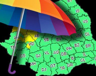 VIDEO | Cod galben de ploi în zece județe din țară