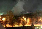 Incendiu uriaș, la un bloc în construcție din București