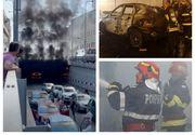 Momente de panică în centrul orașului Craiova. O mașină a ars ca o torță într-un pasaj subteran