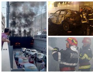 Momente de panică în centrul orașului Craiova. O mașină a ars ca o torță într-un pasaj...