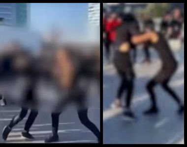 VIDEO | Două tinere s-au luat la bătaie pe terasa unui mall din București. Momentul a...
