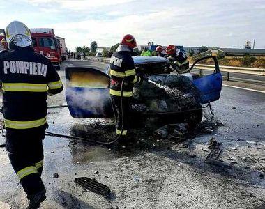 Accident grav pe autostrada A1: Autoturism în flăcări