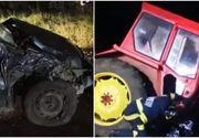 Trei persoane au ajuns de urgență la spital, asta după ce un tractor și un autoturism s-au izbit frontal