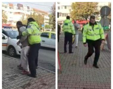 VIDEO | De câți agenți e nevoie pentru ca un bărbat din Giurgiu să fie imobilizat? Un...