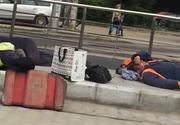 Asa se munceste in Romania! Imagini revoltatoare surprinse in Bucuresti! Muncitorii dorm in plina zi, fara sa le pese de lucrari!