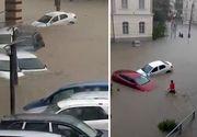 Potop in Tulcea. Centrul orasului este pur si simplu sub apa, iar masinile plutesc. Strazile sunt complet inundate