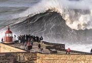 Imagini incredibile cu cele mai mari valuri din lume! Statiunea portugheza Nazare este asaltata de turisti si de surferi pentru valurile care depasesc 20 de metri inaltime!