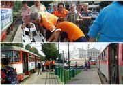 Clipe de groaza pentru o femeie din Arad:aceasta a fost tarata de tramvai mai multi metri, fara ca vatmanul sa observe