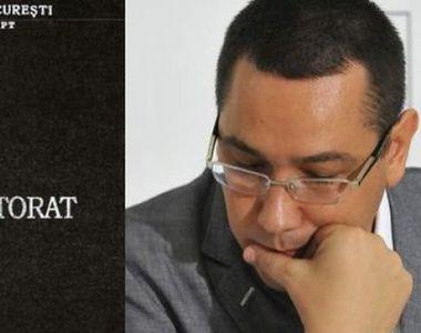 Victor Ponta isi poate pierde joi titlul de doctor