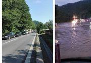 Inundatii puternice pe Valea Oltului. Soselele au fost acoperite de ape