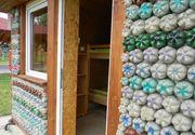 Proiect inedit in judetul Satu Mare. Case construite din 4.000 de sticle de plastic umplute cu nisip. Cum arata cele cinci cabane ecologice