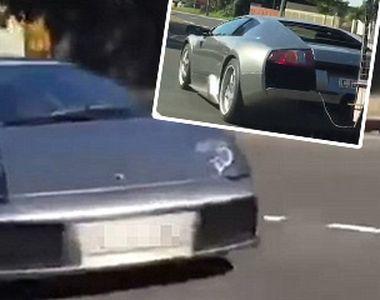 Moment bizar surprins in trafic. Conduce un Lamborghini de 500.000 de dolari, dar cara...