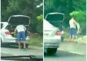 Imagini revoltatoare surprinse pe drumul dintre Costinesti si Tuzla! Si-a facut curatenie in masina si a aruncat tot gunoiul pe strada