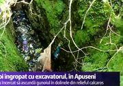 """Gunoi, ingropat cu excavatorul in Parcul Natural Apuseni. Edilii, amendati cu 100.000 de lei: """"Am găsit doline pline ochi efectiv cu gunoaie. În loc să cureţe zona, au dus gunoaiele în grotele formate"""