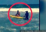 Clipe de groază astăzi, la malul mării. Un bărbat a fost scos în ultima clipă din valurile imense de un salvamar curajos.