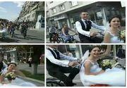 Nunta inedita in Bacau. Mirele si-a dus mireasa la biserica cu bicicleta