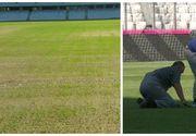 Gazonul de pe Cluj Arena a fost cosmetizat cu trei ore inainte de inceperea meciului cu Muntenegru. Gaurile din gazon au fost acoperite cu iarba taiata