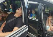 Imagini infioratoare cu doi adulti care au lesinat in masina din cauza unei supradoze. Pe bancheta din spate a masinii se afla copilul lor