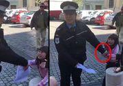O politista din Sibiu bruscheaza o fetita de numai cativa anisori. Micuta plange de mama focului, politista o imobilizeaza ca pe un infractor