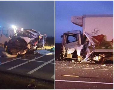 Vrancea: Patru morti si trei raniti grav, dupa ce un microbuz s-a ciocnit cu un camion...
