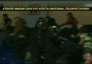 Bataie ca in filme intre suporterii Stelei si ai celor de la Dinamo la un meci de handbal. Imagini incendiare de la fata locului