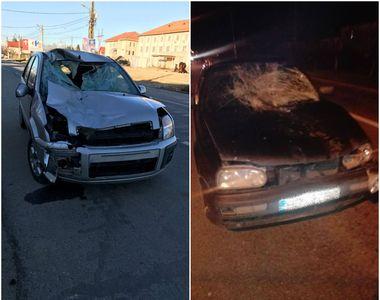 Accident grav la iesirea din Targu-Jiu. Doua masini au fost distruse dupa ce au lovit...