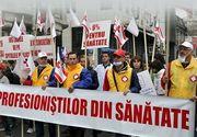 Reprezentantii Sanitas picheteaza din nou Ministerul Sanatatii, nemultumiti ca nu au ajuns la o intelegere pentru inceperea negocierilor privind noul contract colectiv de munca