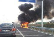 Traficul a fost reluat pe Autostrada A2. Circulatia a fost oprita circa 20 de minute pentru ca un autoturism a luat foc