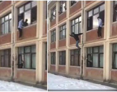 Elevii din Brasov care au sarit de la etajul I al scolii in zapada, ca sa se distreze,...