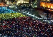 """Numarul manifestantilor din Piata Victoriei a ajuns la 20.000. """"Tricolorul uman"""" a fost realizat"""