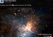 O coliziune violenta intre doua stele tinere, surprinsa in imagini de telescopul ALMA