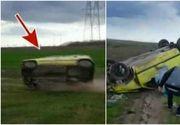 Imagini socante in Timis. Un tanar a fost filmat in momentul in care s-a rasturnat cu masina. Si-a pus singur viata in pericol