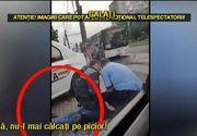 Imagini halucinante in trafic! Doi politisti se chinuie sa aresteze un barbat, in timp o politista care vorbeste la telefon ii preseaza piciorul cu bocancul!