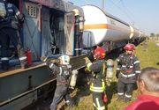 O locomotiva care tracta cisterne cu butan a luat foc in Timis