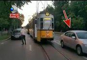 Un barbat a paralizat traficul din Iasi dupa ce si-a lasat masina in mijlocul strazii. 15 tramvaie au ramas blocate pe linie