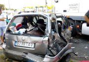 Accident teribil in Giurgiu! Un copil de 4 ani a fost proiectat prin luneta masinii dupa ce un autoturism s-a ciocnit cu un autocar. Bunica lui a fost si ea ranita
