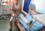 O femeie din Gorj a ajuns la spital dupa ce a fost lovita de masina politiei. Agentul a uitat sa traga frana de mana