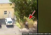 Scene incredibile surprinse in curtea Serviciului de Ambulanta Satu Mare. Un politist loveste cu brutalitate o asistenta.