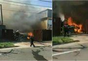 Incendiu puternic la un atelier de tamplarie din Galati