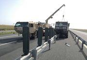 Convoi NATO, implicat intr-un accident rutier pe A1. Trei militari au fost transportati la spital