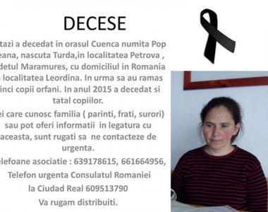 O romanca, mama a cinci copii, a murit in Spania. Diaspora face eforturi disperate sa-i...