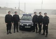 Cinci elevi in practica la Jandarmeria Hunedoara au salvat un barbat cuprins de flacari