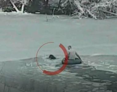 Momente de spaima pentru un barbat din Ilfov dupa ce cainele sau a cazut intr-un lac...