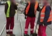 """Niste muncitori ingeniosi din Iasi au asfaltat cu...piciorul! Imagini de senzatie cu """"Dorel"""""""