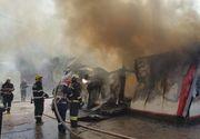 Incendiu puternic in Capitala. 7 autospeciale ale pompierilor au fost mobilizate pentru stingerea flacarilor